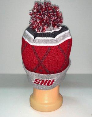 Шапка Красно-серая шапка с помпоном  №1544