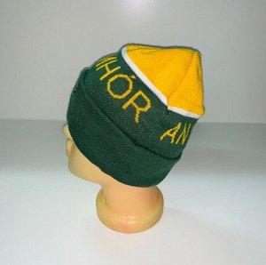 Шапка Зеленая с желтым уютная шапка  №3992