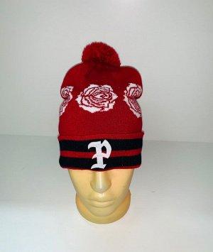 Шапка Красная шапка с белыми розами и помпоном  №3940