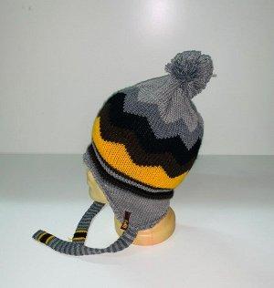 Шапка Серая шапка с помпоном и завязками  №3979