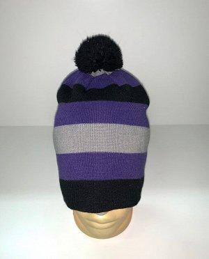 Шапка Модная полосатая шапка с помпоном  №3968