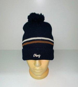 Шапка Черная шапка с полосками и помпоном  №3927