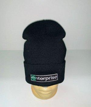Шапка Крутая черная шапка с нашивкой  №3958
