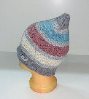 Шапка Полосатая шапка пастельных оттенков  №1590