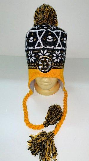Шапка Желто-черная шапка с помпоном и косами  №1597