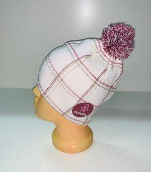Шапка Белая шапка в клетку с помпоном  №4043