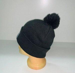 Шапка Темно-серая шапка с помпоном  №4039