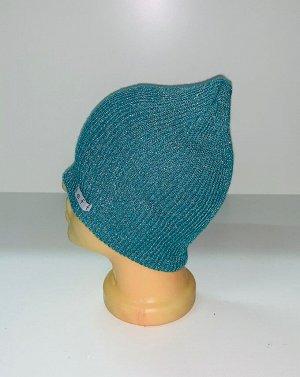 Шапка Стильная бирюзовая шапка  №1582