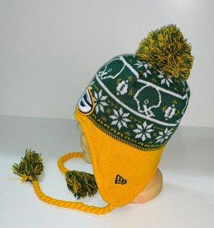 Шапка Желто-зеленая шапка с помпоном и косами  №1601