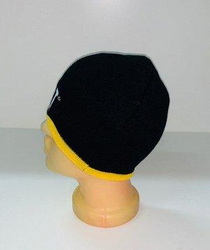 Шапка Черная шапка с желтой отделкой  №1645