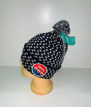 Шапка Черная шапка в горошек с помпоном  №3924