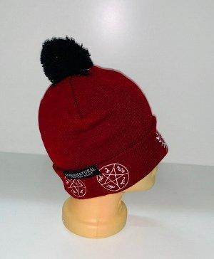 Шапка Красная шапка с вышивкой и черным помпоном  №1610