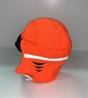 Шапка Оранжевая шапка со светоотражающими полосками  №1731