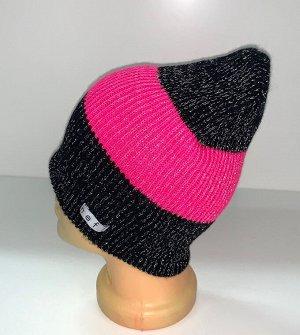 Шапка Черная шапка с розовой полосой  №1567