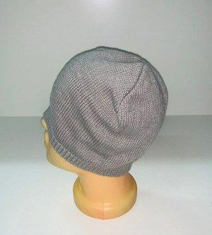 Шапка Вязаная серая шапка  №1876