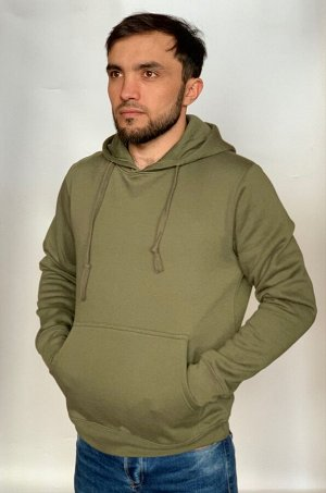 Мужская толстовка хаки-олива для походов и города - классческий дизайн мужских толстовок с капюшоном. Одинаково подходит как для городской среды, так и для ношения в походах, на рыбалке или охоте №200
