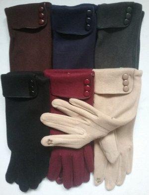 Перчатки женские трикотажные на плюше