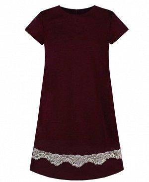 Школьное бордовое платье для девочки Цвет: Бордовый