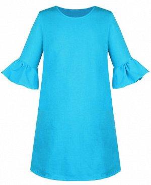 Бирюзовое платье для девочки с воланами Цвет: бирюзовый