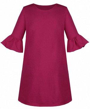 Платье для девочки вишнёвого цвета с воланами Цвет: вишнёвый