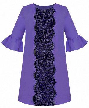 Нарядное сиреневое платье для девочки с воланами Цвет: тёмно-сиреневый