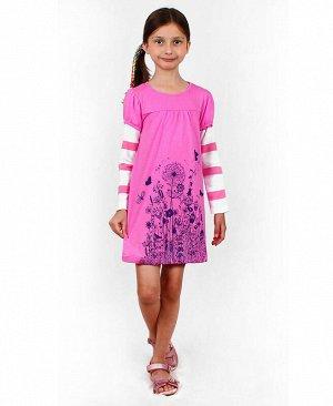 Платье с длинными рукавами для девочки Цвет: пурпурный