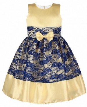 Нарядное платье с гипюром для девочки Цвет: шампань