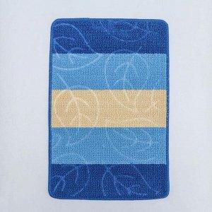 Коврик «Листья», 40?60 см, цвет синий