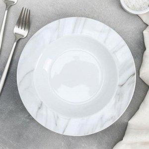 Тарелка суповая Доляна «Мрамор», 300 мл, d=21 см, цвет серый