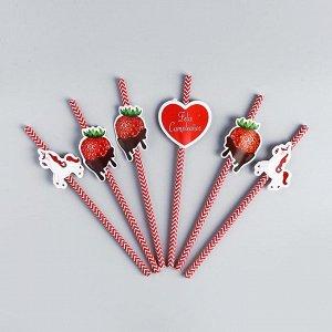 Трубочки для коктейля «С днём рождения», единорог, набор 6 шт.