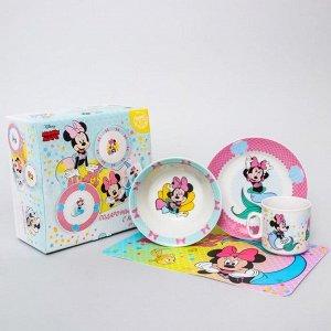 Набор посуды «Минни русалочка», 4 предмета: тарелка ? 16,5 см, миска ? 14 см, кружка 200 мл, коврик в подарочной упаковке, Минни Маус 4704355