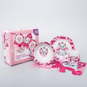 Набор посуды «Мари», 4 предмета: тарелка ? 16,5 см, миска ? 14 см, кружка 200 мл, коврик в подарочной упаковке, Коты Аристократы 4704359