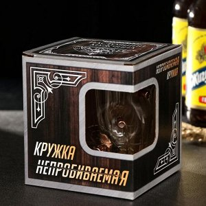 """Кружка """"Непробиваемая"""", под дерево, 3 пули, для пива , 500 мл"""