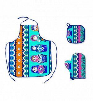 Набор для кухни 3 пр.: фартук, рукавица, прихватка Матрёшка синий