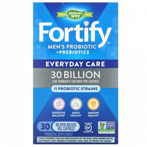Nature&#x27 - s Way, Fortify, Men&#x27 - s Probiotic + Prebiotics, Everyday Care, 30 Billion, 30 Delayed-Release Veg. Capsules