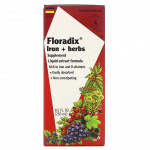 Flora, Floradix, добавка с железом и травами, формула с жидким экстрактом, 250 мл (8,5 жидкой унции)