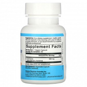 Advance Physician Formulas, L-карнозин, 500 мг, 30 капсул