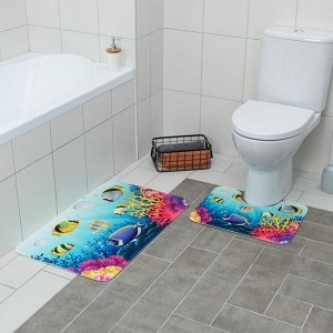Набор ковриков для ванны и туалета «Аквариум», 2 шт: 79?50, 50?39 см