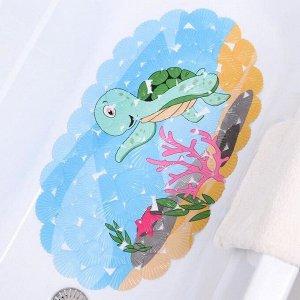 Коврик для ванны Доляна «Черепашка», 35?65 см, ракушка
