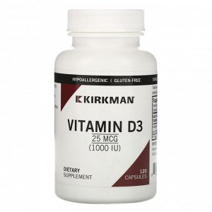 Kirkman Labs, Vitamin D-3, 25 mcg (1,000 IU), 120 Capsules