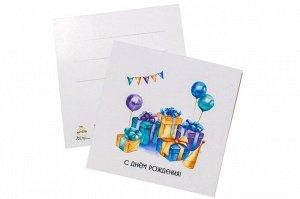 Мини открытка- С днем рождения ( коробки с шариками)