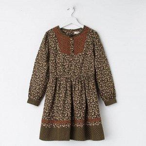 Платье для девочки, цвет хаки