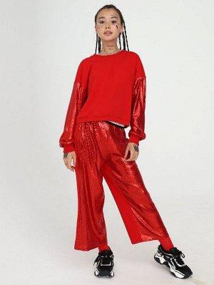 Комплект: свитшот укороченный и брюки кюлоты с завышенной талией