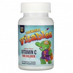 Vitables, жевательный витамин C для детей, апельсиновый вкус, 90 вегетарианских таблеток