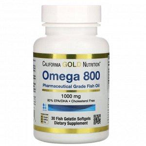 California Gold Nutrition, Omega 800 Pharmaceutical Grade Fish Oil, 80% EPA/DHA, Triglyceride Form, 1,000 mg, 30 Fish Gelatin Softgels