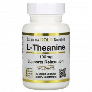California Gold Nutrition, L-теанин, AlphaWave, поддержка расслабления, успокоение, 100 мг, 60 растительных капсул