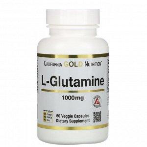 California Gold Nutrition, SPORT, L-глютамин, 1000 мг, 60 растительных капсул