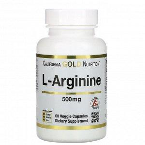 California Gold Nutrition, AjiPure, L-аргинин, 500 мг, 60 растительных капсул