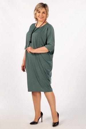 Платье мятный,коричневый, джинса.Эффектное платье, выполнено из легкого трикотажного полотна. Силуэт «летучая мышь» и красивая драпировка будут прекрасно смотреться на любой фигуре. Вырез горловины ок