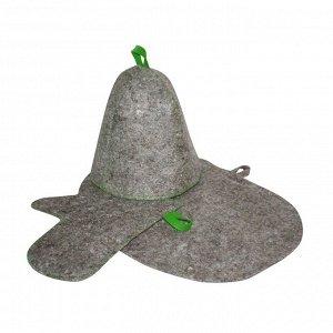 Комплект банный (шапка,рукавица,коврик), войлок серый
